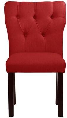 Wayfair Custom UpholsteryTM Evelina Tufted Upholstered Parsons Chair Wayfair Custom Upholstery Upholstery Color: Linen Antique Red, Leg Color: Natural Wood