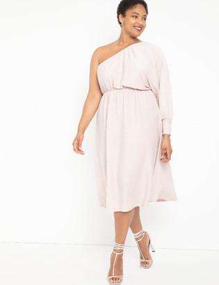 ELOQUII One Shoulder Lurex Knit Dress