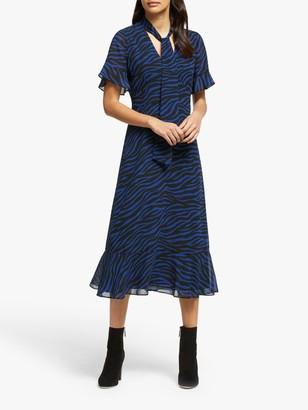Michael Kors MICHAEL Animal Tie Neck Dress, Black/Twilight Blue