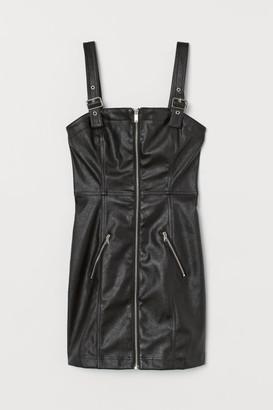 H&M Short Faux Leather Dress - Black