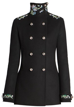 Paco Rabanne Manteau Caban Embroidered Wool-Blend Jacket