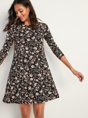 Old Navy Printed Jersey Long-Sleeve Swing Dress for Women