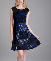 Aster Blue & Black Abstract Cap-Sleeve Dress - Plus Too
