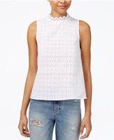 Kensie Cotton Crochet Lace Top