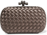 Bottega Veneta The Knot Watersnake-trimmed Intrecciato Satin Clutch - Mushroom