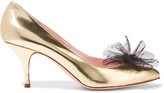 RED Valentino Point d'espirit-trimmed metallic leather pumps
