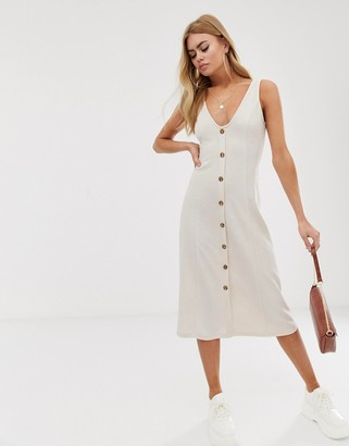 Asos Design DESIGN midi jersey knit button through dress-White