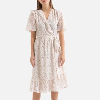 La Redoute Collections Floral Wrapover Midi Dress with Ruffles and Short Sleeves