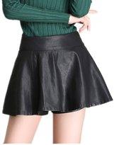 LOVEBEAUTY Women's Fashion Faux Leather Pleated Ruffle Mini Skirts