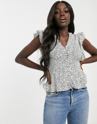 New Look button through blouse in white floral print