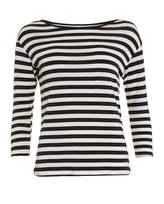 Velvet by Graham & Spencer Womens Glenda Striped Navy Cream Breton Top