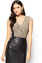 New York & Co. Lace-Overlay Cap-Sleeve Bodysuit