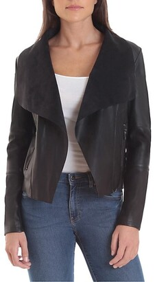 Bagatelle Open Front Faux Leather Jacket