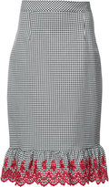 Altuzarra Gingham embroidered pencil skirt - women - Cotton/Spandex/Elastane - 34