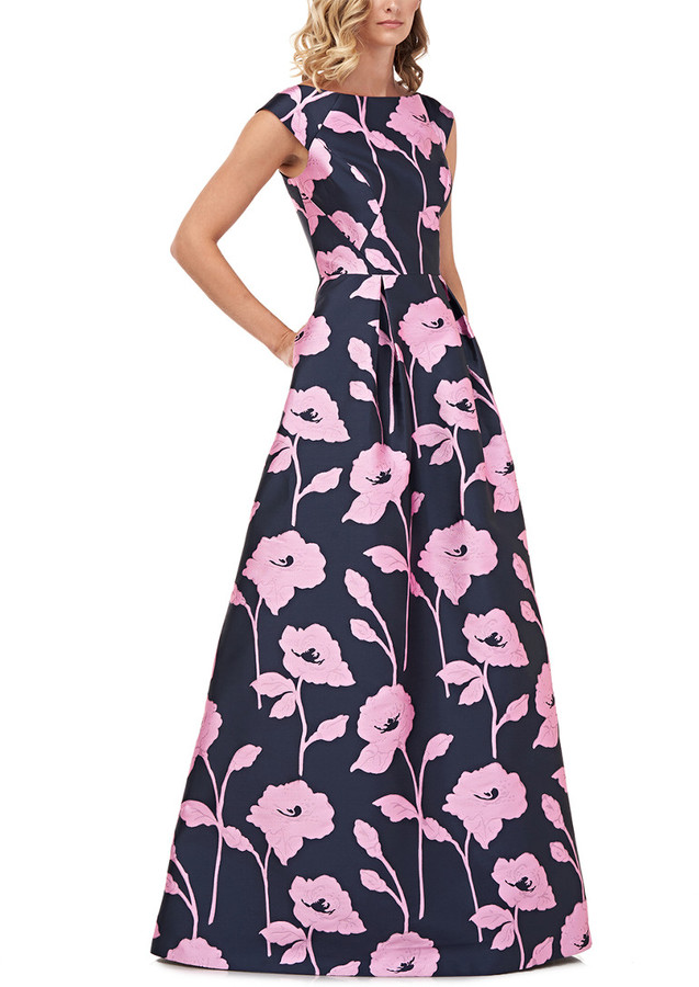 Kay Unger Addison Floral Jacquard Gown