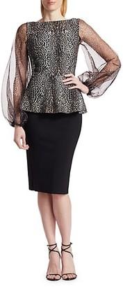 Chiara Boni Hasana Sheer Leopard Print Peplum Dress