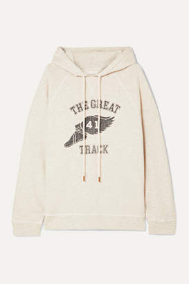 The Great The Slouch Printed Cotton-blend Jersey Hoodie - Cream