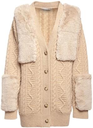 Stella McCartney Faux Fur & Wool Knit Cardigan