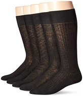 Perry Ellis Men's 5 Pack Premium Cotton Blend Mid Herringbone Texture Socks