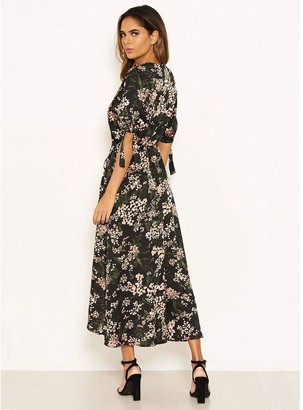 AX Paris Printed Wrap Midi Dress - Black