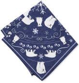 Bar III Men's Indigo Polar Bear-Print Pocket Square, Created for Macy's
