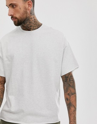 Asos DESIGN heavyweight oversized fit t-shirt with crew neck and raw edges in white marl