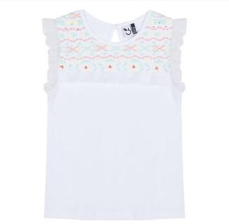 3 Pommes Kid Girl White Sleeveless Tee-Shirt