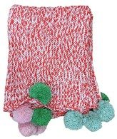 Threshold Pom Pom Marled Knit Throw Blanket - Red
