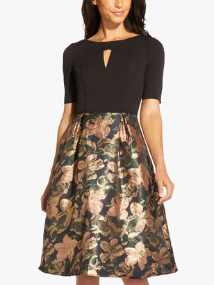 Adrianna Papell Crepe Floral Knee Length Dress, Blush/Multi