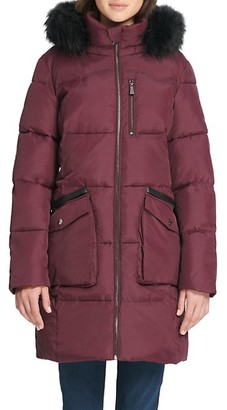 DKNY Quilted Faux Fur-Trim Hooded Coat