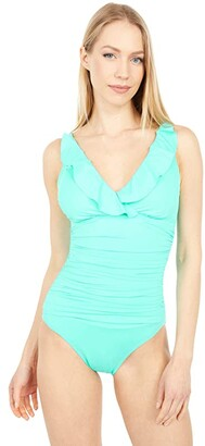 La Blanca Island Goddess Ruffle Surplice Mio One-Piece (Aquamarine) Women's Swimsuits One Piece