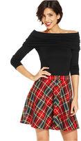 Monroe Marilyn Juniors Skirt, Tartan Plaid-Print A-Line