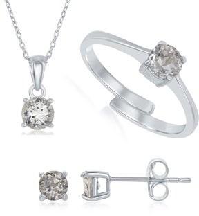 La Preciosa Sterling Silver Genuine Birthstone Adjustable Ring, Necklace, and Earring Gemstone Set