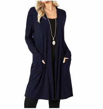 Mighty Eagle Mighty-eagle Women Knitted Cardigan Cotton Front Open Cardigan Coat Cardigans with Pockets White