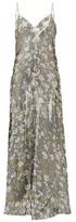 Ganni Metallic Floral-print Slip Dress - Womens - Silver