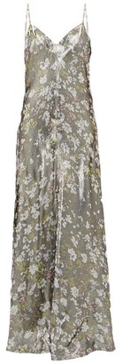 Ganni Metallic Floral-print Slip Dress - Silver