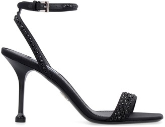 Prada Embellished Satin Sandals
