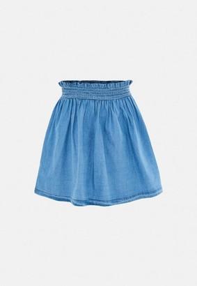 Missguided Blue Co Ord Shirred Waist Denim Mini Skirt
