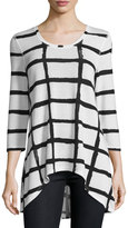Neiman Marcus Grid-Print High-Low Tee, Black/White
