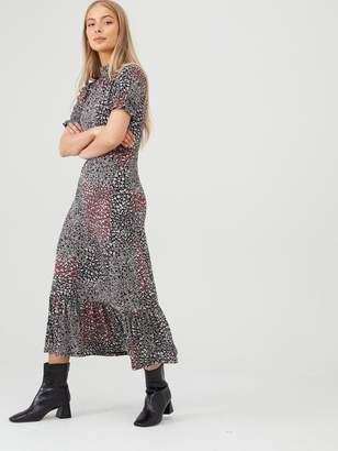 Very Ruffled High Neck Printed Dress - Black/Floral