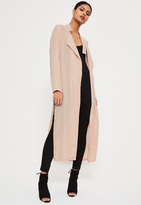 Missguided Nude Tie Choker Chiffon Duster Coat