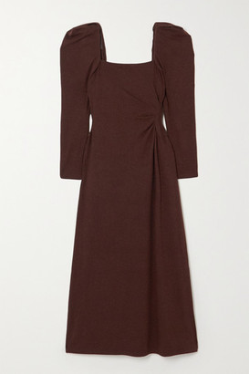 Johanna Ortiz Ember Of A New World Ruched Backless Crepe Midi Dress - Brown