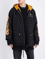 Palm Angels Palms and flames quilted shell jacket