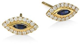 Anita Ko 18K Yellow Gold, Diamond & Blue Sapphire Evil Eye Stud Earrings