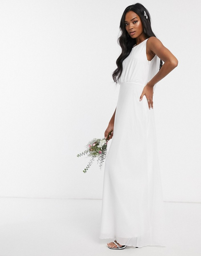 Maids to Measure bridal cowl back chiffon dress