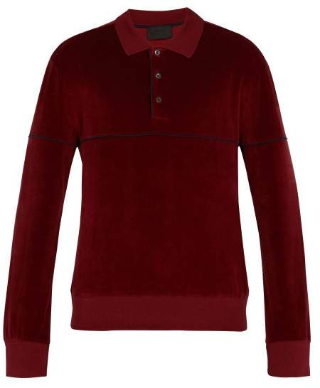 Prada Long Sleeved Chenille Cotton Polo Shirt - Mens - Red