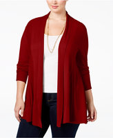 NY Collection Plus Size Open-Front Textured Cardigan