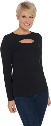 G.I.L.I. Got It Love It G.I.L.I. Long Sleeve Knit T-Shirt with Keyhole Neckline