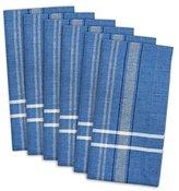 "DII 100% Cotton, Oversized Basic Everyday 20x20"" Napkin Set of 6, Blue Chambray French Stripe"