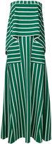 Goen.J stripe panel strapless gown
